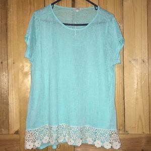 Ladies Mint green with cream lace blouse